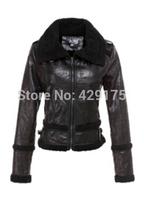 New 2014 Brand One-Piece fur coat winter women leather jacket Turn-Down Collar Fur One Piece Women'S Outerwear