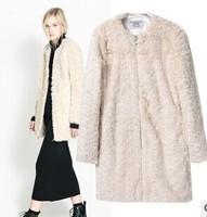 2014 Women New Arrival Long Sleeve Solid Natural Color Faux Fur & Fur O-Neck Zipper Plus Size Women Warm Coat