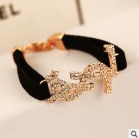 YTSL59 Fashion Designer Korean Quality Velvet Black Chain Women Bracelets Bangles Crystal Letters Real Gold Plated Bangle Cuff