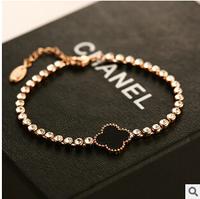 YTSL60 European Luxury Brand Clover Pendant Bracelets Bangles Crystal Chain Real Gold Plated Cuff Bracelet Pulseiras Femininas