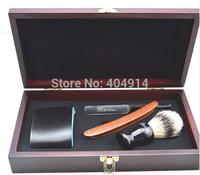 Shave Kit Knife Straight Razor Shaving Brush and leather Strop Wood Handle Shaving Knife #05