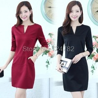 New autumn woman to make seven-sleeve v neck slim OL casual chic clothing vestidos women dress 6753 #