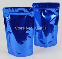 50x Free Shipping 12*20 +4cm blue ziplock aluminum foil bags zip lock stand up pouch colorful aluminum foil zipper bags lucifuge