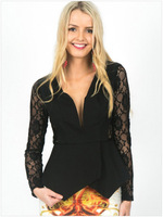 2014 Autumn High Quality FashionBlack Jersey Lace Long Sleeve Peplum Top Sexy Club Wear Top Free Size NA25189 Free Shipping
