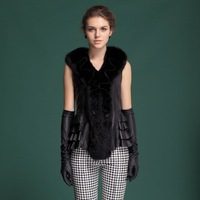 Zijindiao Women's Genuine Real Sheepskin Leather Vest with Large Fox Fur Collar Z3102