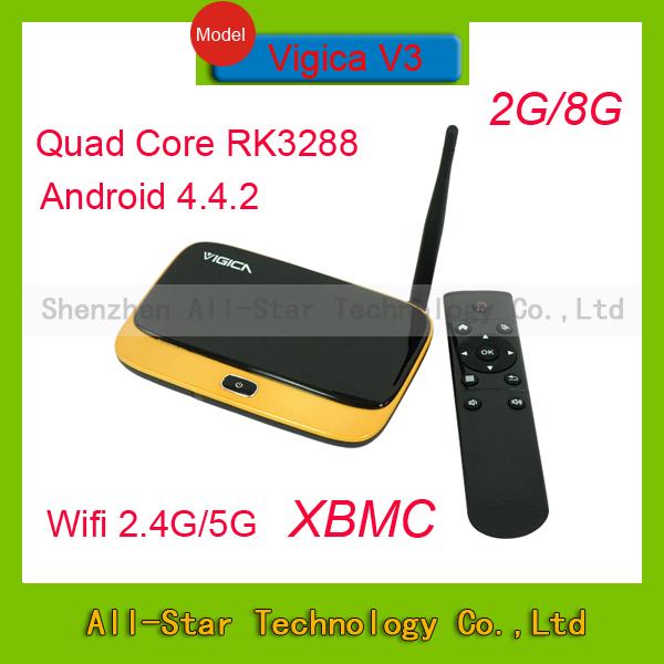 где купить Телеприставка Vigica V3 RK3288 4.4.2 2G /8G Cortex A17 4 K h.265 WiFi 2.4 G/5 g Android xbmc13.0 2 G/8 g  Rockchip RK3288 1.8 GHz по лучшей цене