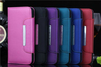 10pcs/lot   multi-function Grind arenaceous hang rope card wallet Pu leather side flip phone case for iphone6