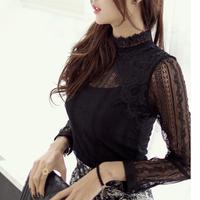 2014 Autumn Women's Lace blouse Stand collar Long-sleeve Cutout Slim Elegant Top Black Women Lace Blusas