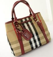 2014 Autumn new Korean fashion handbags retro handbag shoulder bag Plaid canvas handbags wholesale Free shipping