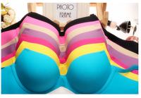 Free shipping 2014 Summer new nappa multicolor a chip fission pure color non-trace girl bra together