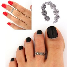 Celebrity Fashion Simple Retro Flower Design Adjustable Toe Ring Foot Jewelry