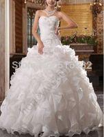 Custom Ball Gown Applique Ruffles Organza Wedding Dress Bridal Gown White/Ivory AL6725