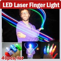 40pcs/ Lot, Multi-Color Bright LED Laser Finger Light Finger Beam Magic Finger Lights For Birthday,Christmas Party KTV Bar Gift