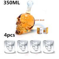 4 pcs/Pack Crystal Double-Wall Doomed Skull Vodka Whiskey Shot Glass+1 pc Crystal Head Skull Bottle 350ml,Free Shipping
