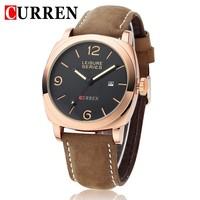 CURREN 8158 Men Wristwatch Men Quartz Watch Military Watch Men's Genuine Leather Strap Sports Watches Fashion Casual Watches