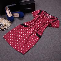 Free shipping! 2014 European summer women's fashion short sleeve dot slim silk dress
