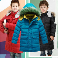 new 2014 winter children's clothing boys kids medium-long thickening hooded 90% white duck down jackets parka coats outerwear