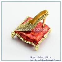 Red color fashion enamel  high heeled shape metal trinket box