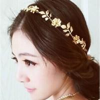 Free Shipping  bohemia hair accessories  flower  gold leaf Simulated diamond bridal headband hair band Wholesale