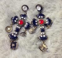 Free Shipping Europe retro Bohemian Baroque palace cross Simulated Diamond drop earrings female Wholesale
