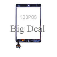 DHL 100PCS 100% Working Guarantee Tested Best Quality White/Black For iPad Mini Touch Screen Digitizer with IC Connector + FLEX