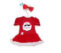 2014 new European and American girl dresses, Christmas Santa skirt short-sleeved dress + headdress holiday gifts