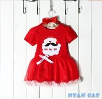 2014 new year girl dresses, Christmas Santa skirt short-sleeved dress + headdress holiday gifts 30sets/lot
