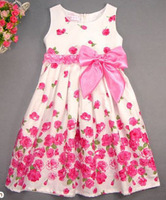 Girls dress Baby Girl Dresses Flower girl dresses cute dog style Dress 2014 New reta children's clothing kids dress summer