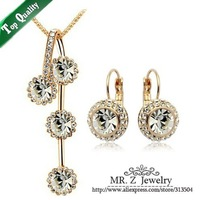 Fashion 18K Gold Plated Long Chain Necklace Earrings Crystal Wedding Jewelry Sets Free Shipping