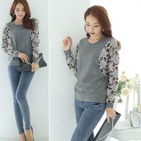 OVO!fashion 2014 casual style Loose big yards lace stitching render knitted t shirt long batwing sleeve shirt F.SZ.W.254