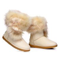 36-40 free shipping 2014 new arrived women pu boots Winter hot sell women snow boots fox fur boots four colors waterproof boots