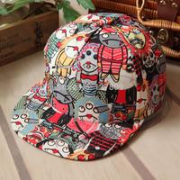 Retail 2014 New Autumn Fashion Women & Men Korean Cartoon Vampire Graffiti Baseball Caps,Boys Hip-Hop Hats,Free Shipping  cm113
