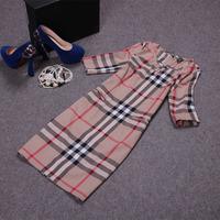 Free shipping! 2014 European summer women's fashion half sleeve plaid slim dress, England style plaid dress