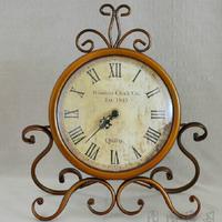 Mute Europe type wrought iron imitation crafts Vintage clock metal decoration  desktop Alarm clocks