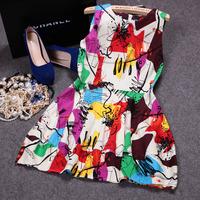 Free shipping! 2014 European summer women's fashion sleeveless print tank dress