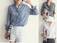 New 2014 Women Linen Shirts Long Sleeve Blouse Turn Down Collar  Women Shirts Blouses White / Blue / Black Blusas Feminina