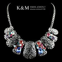 New Arrival Fashion Retro Unique Design Alloy Inlay Rhinestone Silver Plated Statement Necklace for Women Mini order is $10