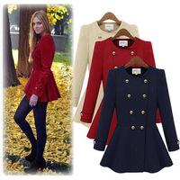 Fashion Ladies Casacos Femininos 2014 Elegant Long Sleeve Slim Woollen Coat Double Breasted Winter Women Coats 80578