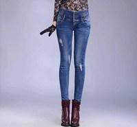 Hot Sale High Quality 2014 New Autumn Fashion Jeans Women High Waist Jeans Feminina Sexy Pencil Skinny Jeans 609