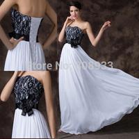 Elegant Exquisite Floor Length Strapless Applique Black Lace Evening Dress White Chiffon Prom Long Dresses Maxi Party GownCL6203