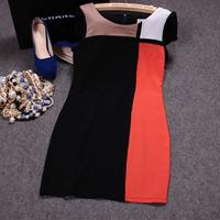 Free shipping! 2014 European summer women's fashion short sleeve contrast color patchwork slim dress, England style plaid dress