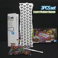 2014 Hot selling Simple and practical rubber loom kit bands diy (600pcs bands+1 pcs hook+30s-clips +1 loom ) Bracelets
