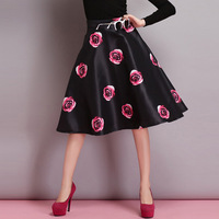 New Women 2015 Spring Summer European Fashion Rose Flower Printed Ball Gown Girls Casual Skirts Size S M L XL SDZ007