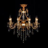 2014 New Arrival Traditional Golden Lobby Crystal Chandelier lamp lighting fixture using E14 Bulbs 100-240V