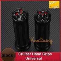Universal bicycle handlebar  grips  Cruiser Hand Grips 1 Black For Kawasaki VN Vulcan Classic Nomad Drifter motor bike