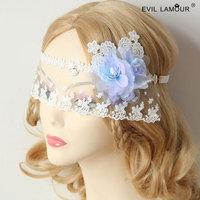 Vocational sea sand head band photo decoration blue flower lace eye's band face veil party stuffs fashion wholesale white colors