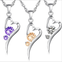 Free Shipping Platinum Plated Crystal Pendant Best quality free style heart purple/ white stone necklace