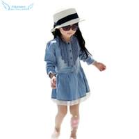 Superb! 1PC Girl Kids Denim Beautiful Lace Cowboy Clothes Long Sleeve Dress Free Shipping&Wholesale Alipower