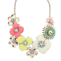wholesale 3pcs/lot fashion jewelry necklaces for women 201418K Gold Filled vintage maxi colar Flower Colares femininos Necklace