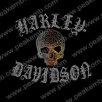Free Shipping 30Pcs/Lot Wholesale Rhinestone Skull Iron on Transfer Hot Fix Motifs For T-shirts Design